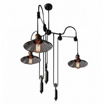3 light Up and down adjustable black edison retro industrial countryside pulley pendant lamp light with inner glass shade