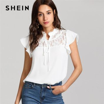 SHEIN White Knot Floral Lace Yoke Top Women Stand Collar Ruffle Butterfly Sleeve Plain Blouse 2018 Summer Elegant Blouse