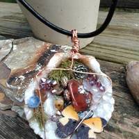 Butterfly Fairy Necklace-Seashell Necklace-Crystal Jewelry-Mermaid Jewelry-Elemental Necklace-Leather Necklace-Wire Wrapped-OOAK Jewelry