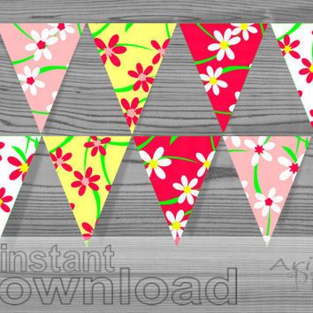 #Party #banner bunting, #printable pennant, pattern with #flowers, #spring colors, digital download, PDF files ready to print