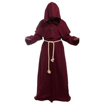 Medieval Costume Women Vintage Renaissance Cosplay Friar Priest Hooded Cloak Clothing