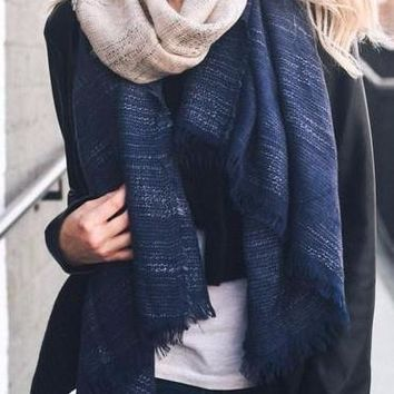 Ombre Scarf in Navy