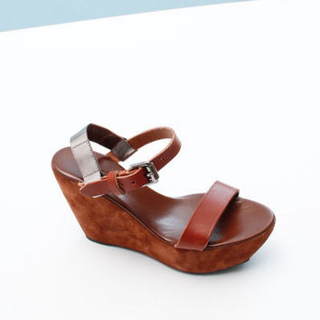 Acne Estelle Suedge Wedge- Brown