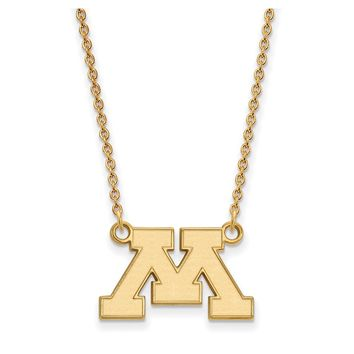 NCAA 14k Gold Plated Silver U of Minnesota Small Pendant Necklace