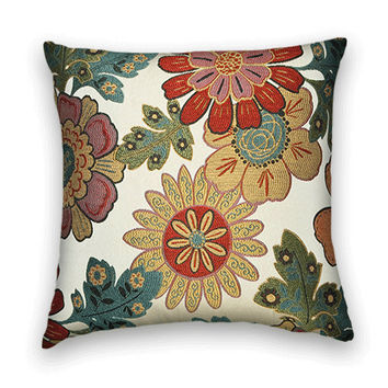 Woven  Decorative Pillow Cover--20 x 20--Floral--Modern Flowers- Red, Yellow, Green, Blue, Pink and Orange.