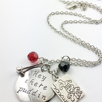 "Suicide Squad theme hand stamped ""hey there puddin"" necklace"