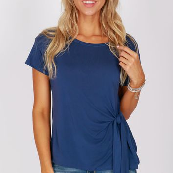 Scoop Neck Knot Top Navy