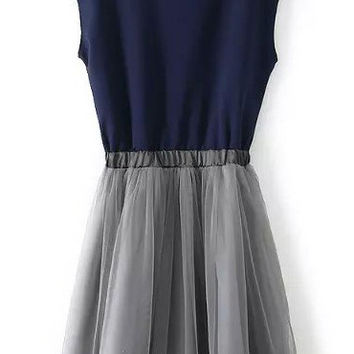 Blue and Grey High Neckline Sleeveless Pleated Dress