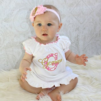 Baby Gift Monogram Baby Gril Dress Personalized Baby Girl Clothes Newborn Baby Girl Clothing Newborn Girl Take Home Outfit White Pink & Gold