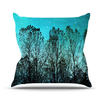 "Sylvia Cook ""Dark Forest"" Blue Trees Outdoor Throw Pillow"