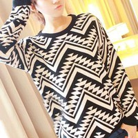 Loose Pullover Geometric Figure Knit Sweater