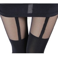 AM Landen®Super Sexy Elegant Mock Tights Tatoo Pantyhose(Black/Black Garter)