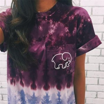 Day-First™ Super Cute Tie Dye Gradient Elephant T Shirt