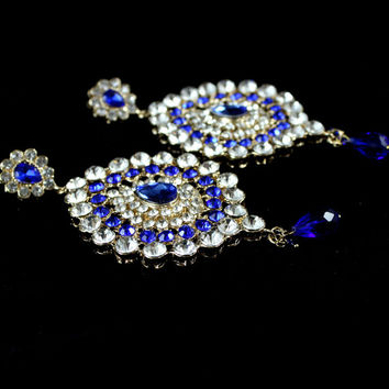 Handmade Beautiful Earring Kundan Stones Bollywood Jewellery Stunning Stylish Any Colour Wedding Prom Party Bridal Chandelier Drop Diamante
