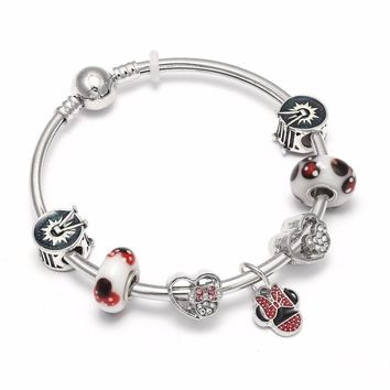 Dropshipping Mickey Charm Bracelets & Bangles Minnie Mouse Pandora Bracelet Jewelry For Women Gift Bijoux Femme Accessories