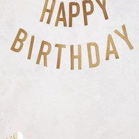 Festive Happy Birthday Banner by Anthropologie Gold One Size Gifts