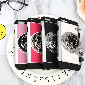 Korean 3D Camera For iPhone X Cases Mobile Phone Back Cover Capa Hard Plastic Soft Shell For iPhone 6 6s Plus 7 8 8 plus 295C