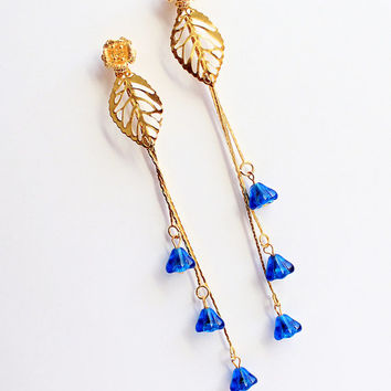 wedding blue studs boho earrings gold flower post stud gold dangle jewelry bridesmaid gifts for bride earrings bridesmaid jewelry blue L229