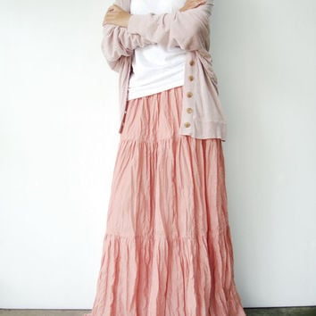 NO.5  Peach Cotton, Hippie Gypsy Boho Tiered Long Peasant Skirt