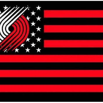 Portland Trail_Blazers logo with US stars and stripes Flag 3FTx5FT Banner 100D Polyester flag 90x150cm
