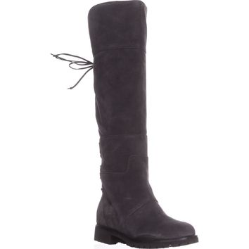 Nine West Mavira Lace Up Over-The-Knee Boots, Dark Grey, 9 US