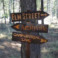 Decisions Halloween Lawn Ornament Sign - Amityville Friday the 13th Nightmare Elm Street Horror Movie Decoration - Cedar Wood Holiday Decor