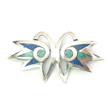 Abstract Owl Brooch Sterling Silver Minimalist Mosaic Bird Head Green Blue Stone Inlay Los Castillo Taxco Mexico Vintage 1960s Jewelry
