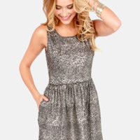Olive & Oak What the Speckle Black and Gold Dress