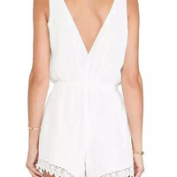 White Wrap V-neck Lace Romper