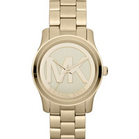 Mid-Size Golden Stainless Steel Logo Three-Hand Watch - Michael Kors
