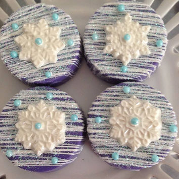 12 Snowflake Winter Chooclate Covered Oreo Blue Purple Bridal Baby Shower Birthday Party Favors Treats Sweets Table Candy Buffet
