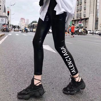 """Balenciaga"" Women All-match Casual Simple Fashion Letter Tight Thickened Leggings Pants Trousers Sweatpants"