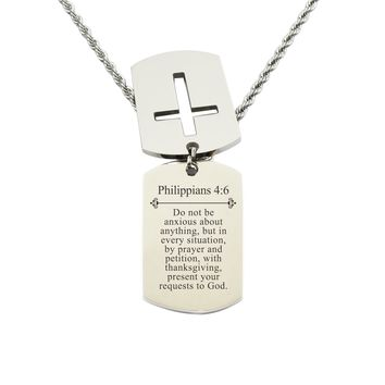 Mens Scripture Double Tag Necklace - Philippians 4:6