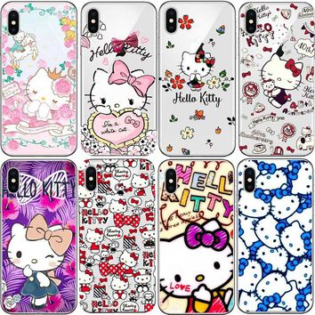 Cute Cartoon Hello Kitty phone Case For iPhone 5s 6 7 8 Plus X XR XS MAX  Hard PC Capa Cover