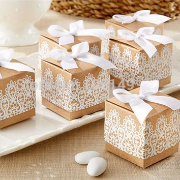 Kraft Paper Lace Bowknot Candy Boxes 50Pcs/Set Cookies Chocolate Gift Box Home Birthday Wedding Party Decorative Accessories