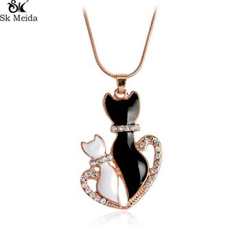 Personality Animal Necklace With Zircon Love Cute Mug Necklace Five Optional Cute Cat Pendant Necklace For Lovers WW-131