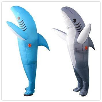 Cool Inflatable Shark Cosplay Costumes  Shark Mascot Costume Fancy Dress Suits for Adult Animal large blue and grey Halloween partyAT_93_12