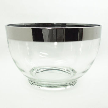 Mad Men style roly poly silver-rim glass punch bowl - Vintage Dorothy Thorpe style punch bowl with silver band - Midcentury barware