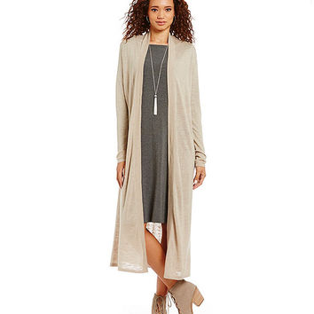 Eileen Fisher Speckle Wool Linen Long Cardigan | Dillards