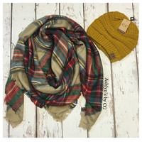 """Always My Style"" Huge Cozy Beige Plaid Blanket Scarf"