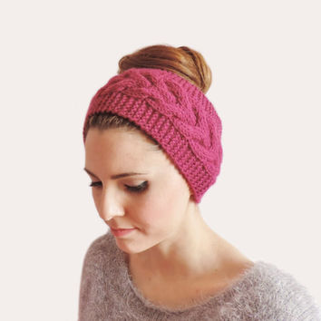 Hot Pink Knitted Turban Headband, Pink Ear Warmer, Winter Hair Bands Wide Headband