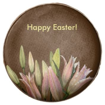 Festive Happy Easter Floral Pink White Lilies Chocolate Covered Oreo