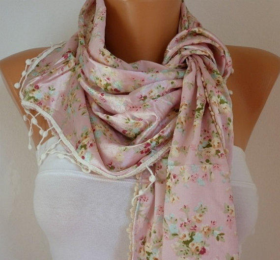 Women Shawl Scarf -  Cowl with Lace -