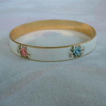 JAPAN Enameled Bangle Bracelet Roses Pink Blue Floral Vintage Jewelry