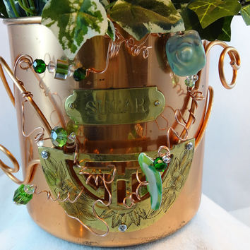 "Whimsical Repurposed Copper Plated ""Sugar"" Canister Planter/Tea Bag Holder P-06"