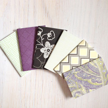 Notebooks: 6 Tiny Journal Set, Purple, Black, Wedding, Favors, Small Notebooks, For Her, For Him, Gift, Unique, Mini Journals, Party, T002