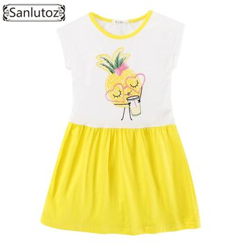 Sanlutoz Cotton Girls Dress Pineapple Children Clothing Summer Toddler Party Brand Princess Fashion 2017 Holiday