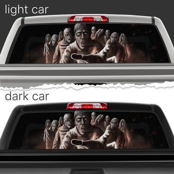 Perforated Vinyl Decal Rear Window Car Zombie Apocalypse N042 FRST