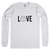 Skreened Love Volleyball LS Tee Black-Unisex White T-Shirt