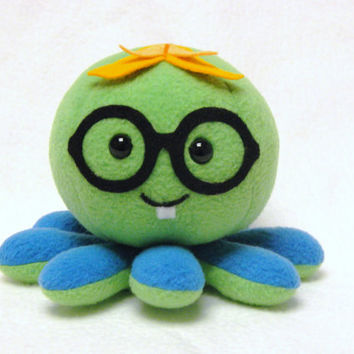 Nerd plush octopus stuffed toy with glassses